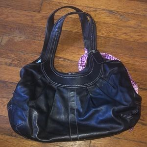 Coach ergo pleated black leather purse F14379 nice